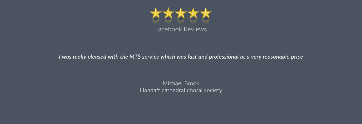 I was really pleased with the MTS service which was fast and professional at a very reasonable price